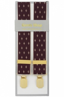 Mens Burgundy Wine Colour Elastic Trouser Braces With Small Design and Gold Coloured Feather Edged Clips - Available In 2 Sizes